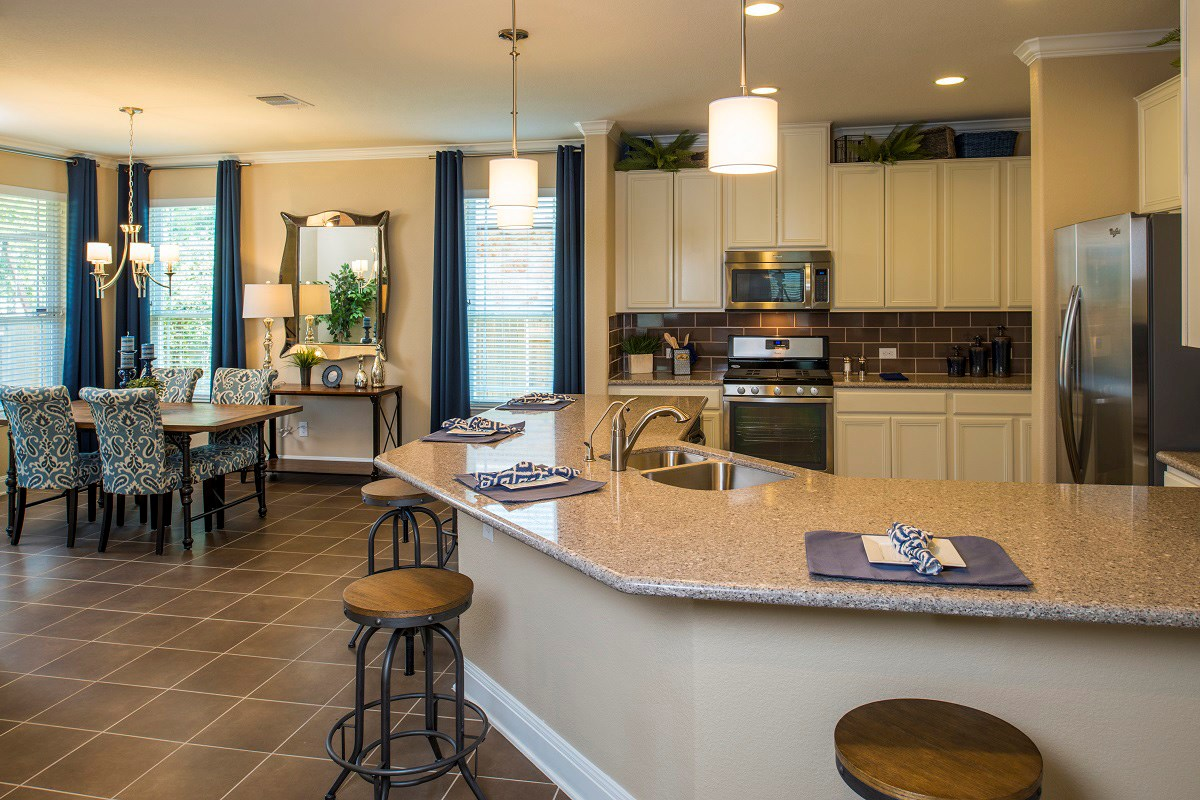 New Homes in Georgetown, TX - Creekside at Georgetown Village Plan E-1647 Living and Dining Area