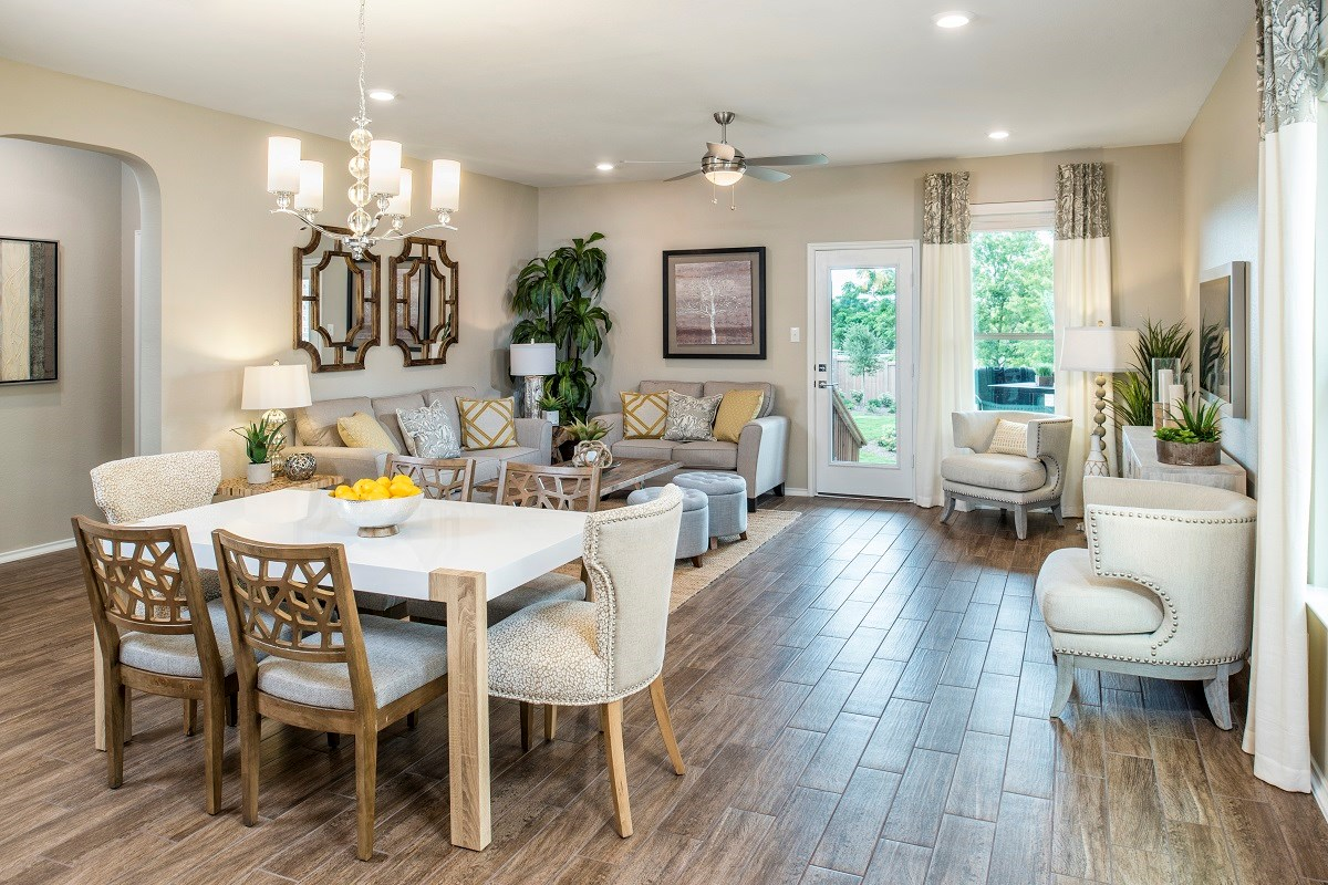 New Homes in Pflugerville, TX - The Edgewaters Plan E-1892 Dining Area and Great Room