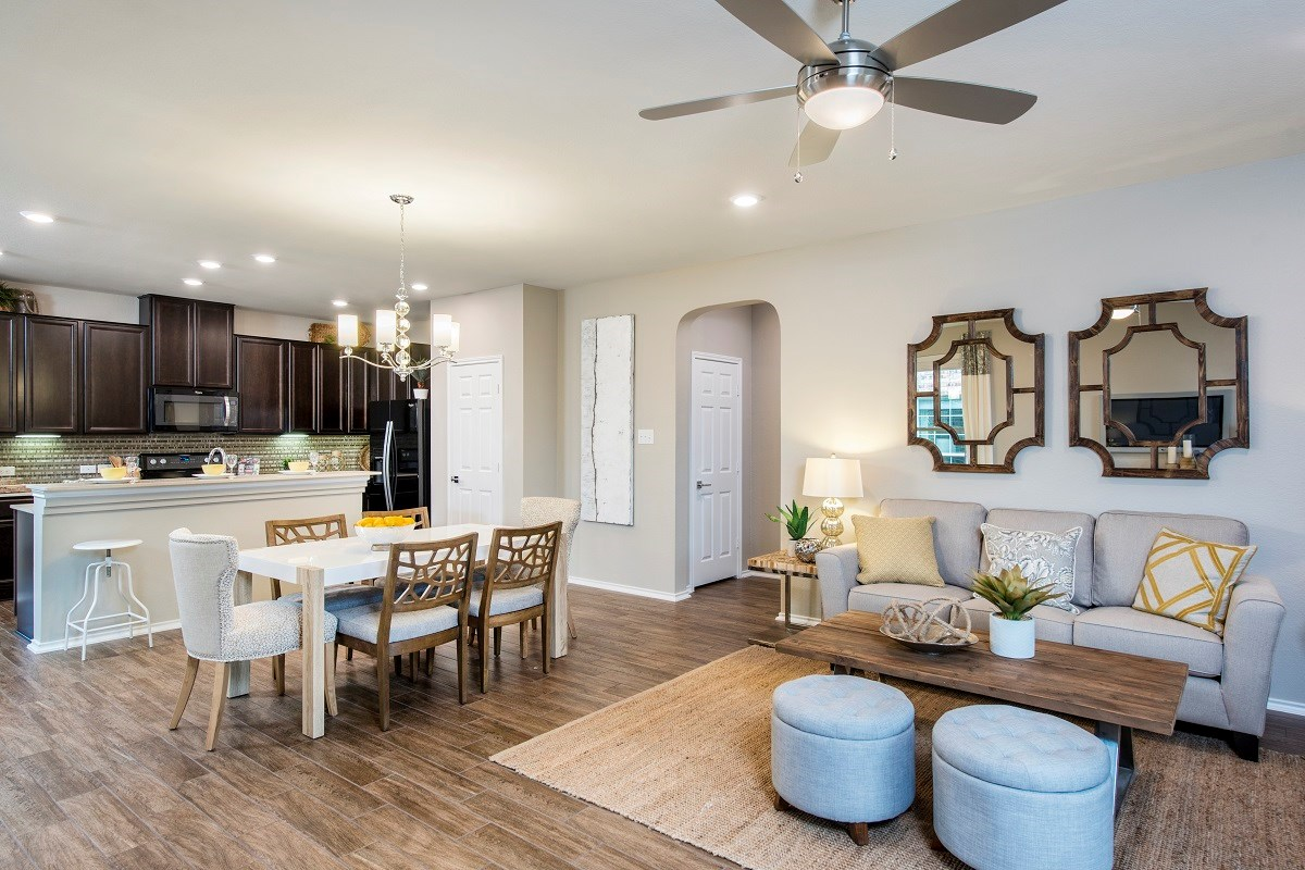 New Homes in Pflugerville, TX - The Edgewaters Plan E-1892 Great Room and Kitchen