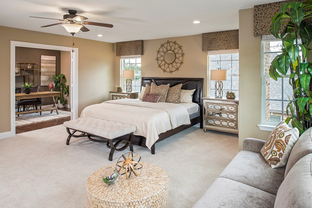 New Homes in Round Rock, TX - Forest Grove - Hallmark Collection Plan A-3475 Master Bedroom and Retreat