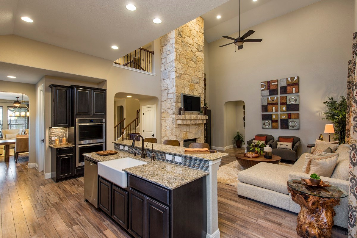 New Homes in Leander, TX - Mason Hills - The Bluffs The L-3471 Kitchen and Family Room