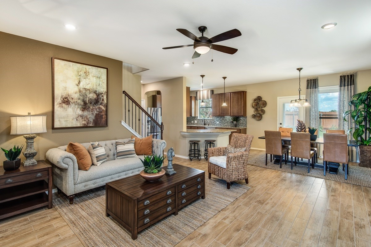 New Homes in Uhland, TX - Highlands at Grist Mill Plan F-1909 Great Room as modeled at Greenlawn Village