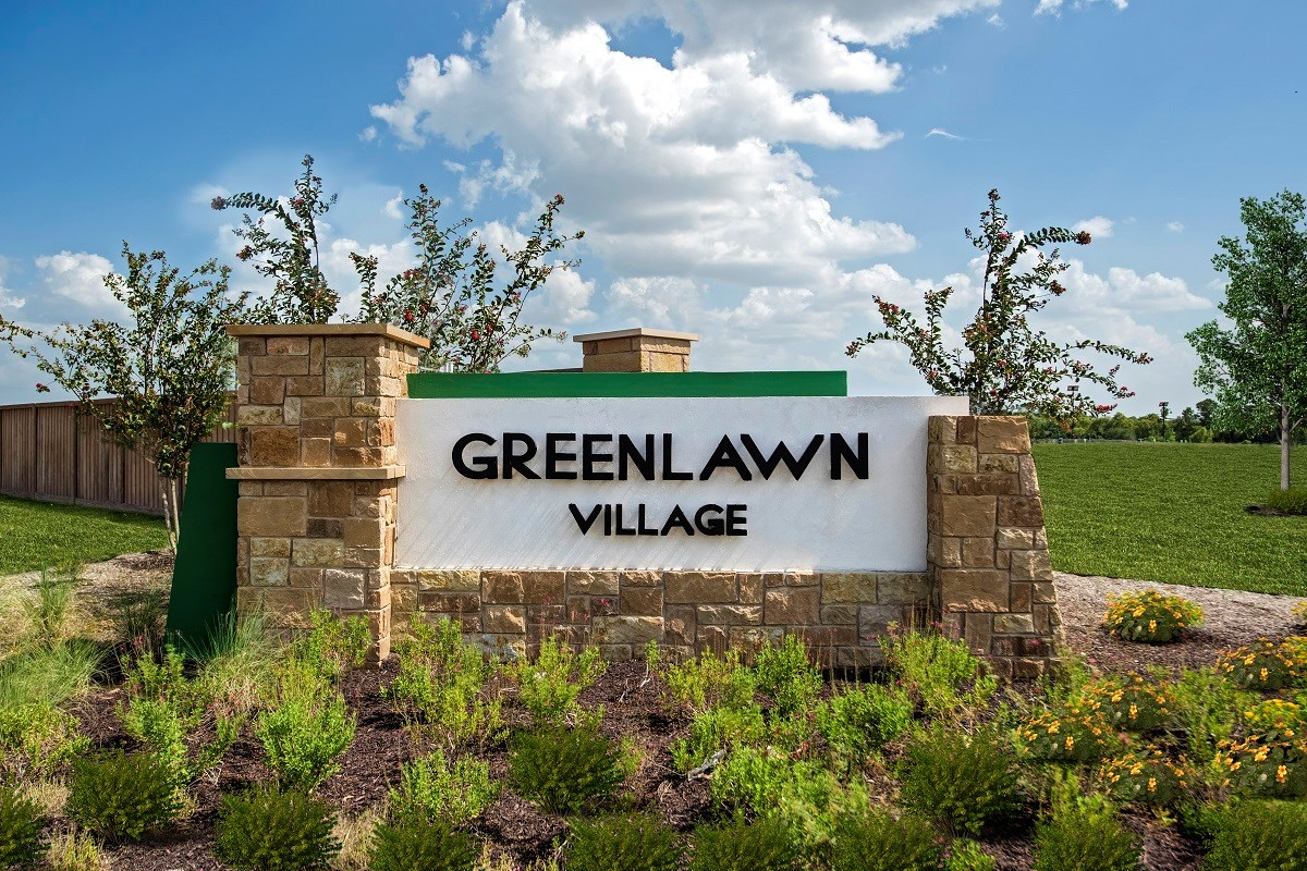New Homes in Round Rock, TX - Greenlawn Village Community Entrance