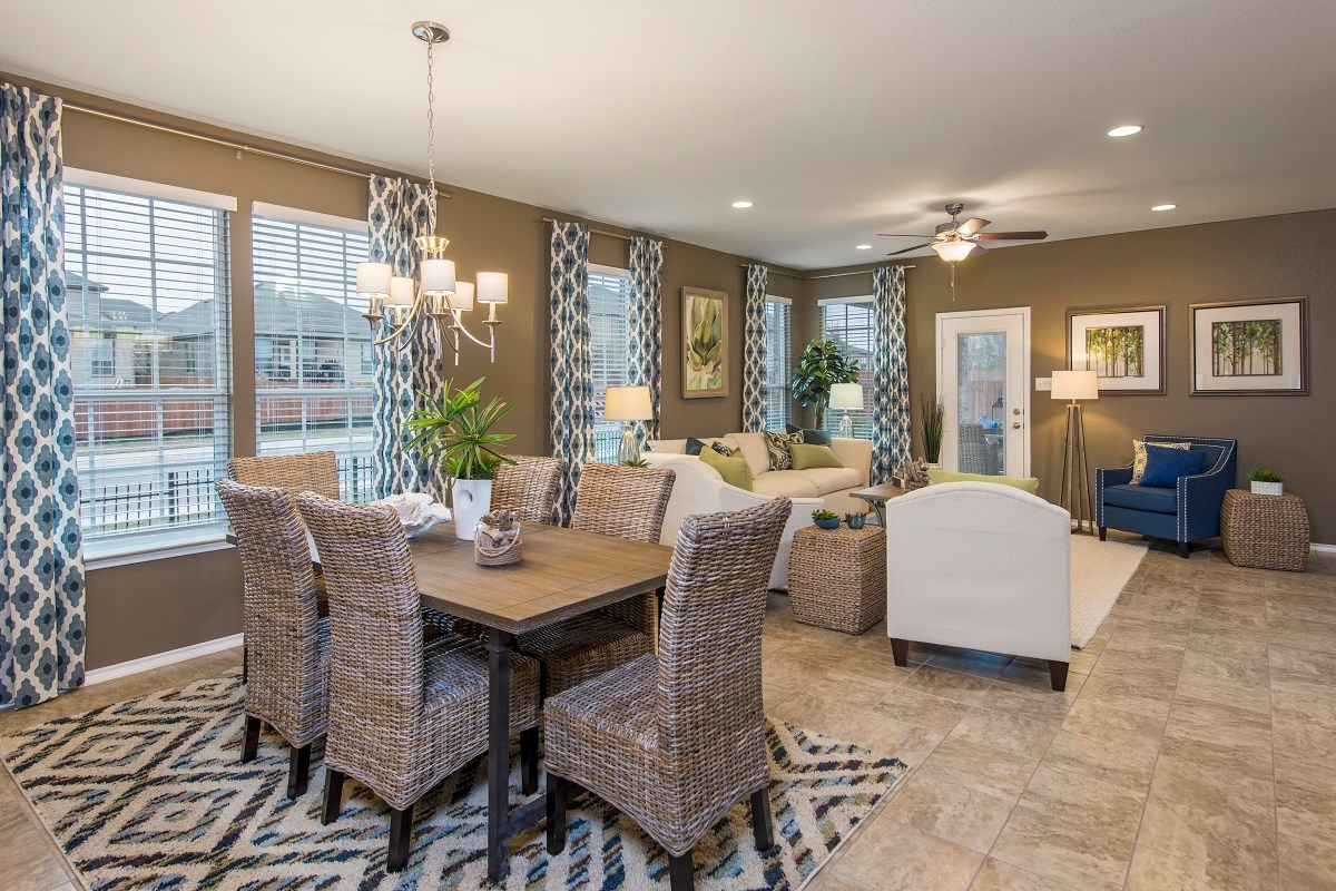New Homes in Georgetown, TX - La Conterra The A-2089 Dining Area and Living Area