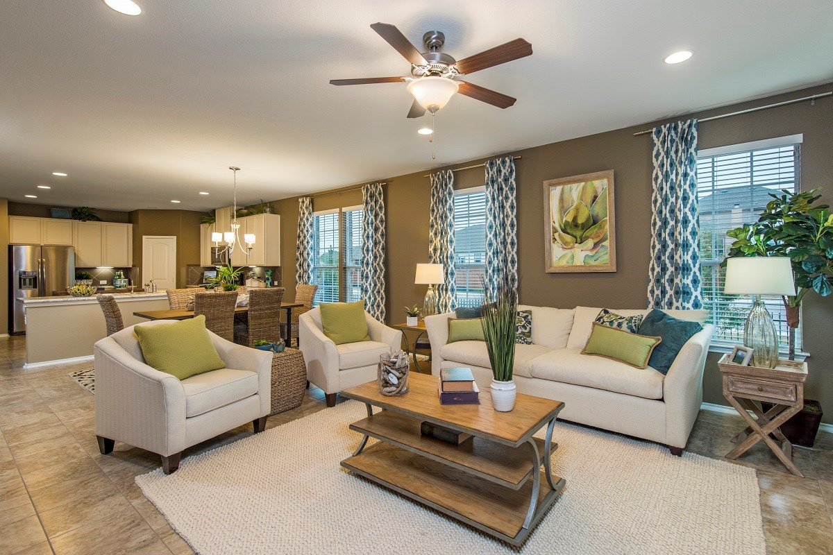 New Homes in Temple, TX - Village of Sage Meadows The A-2089 Living, Dining and Kitchen