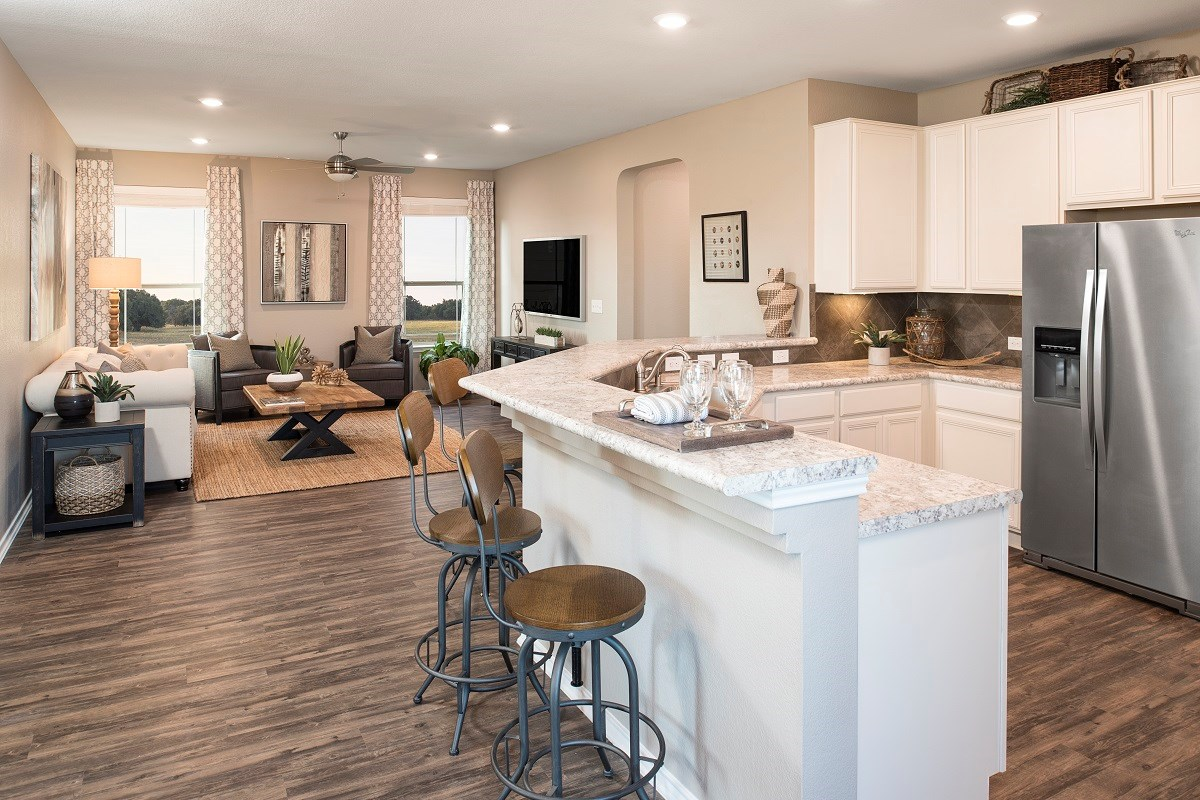 New Homes in Austin, TX - Landings at Wells Branch Plan E-1647 Kitchen and Great Room
