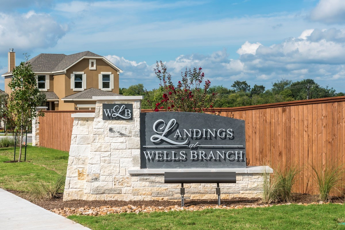 New Homes in Austin, TX - Landings at Wells Branch Community Entrance