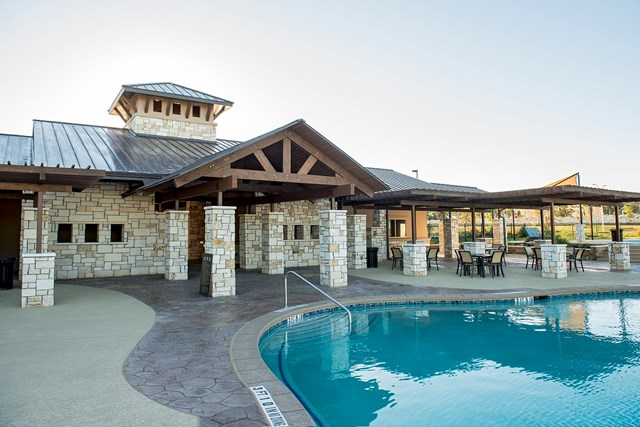 Amenity center pool at a KB Home community in Leander, TX