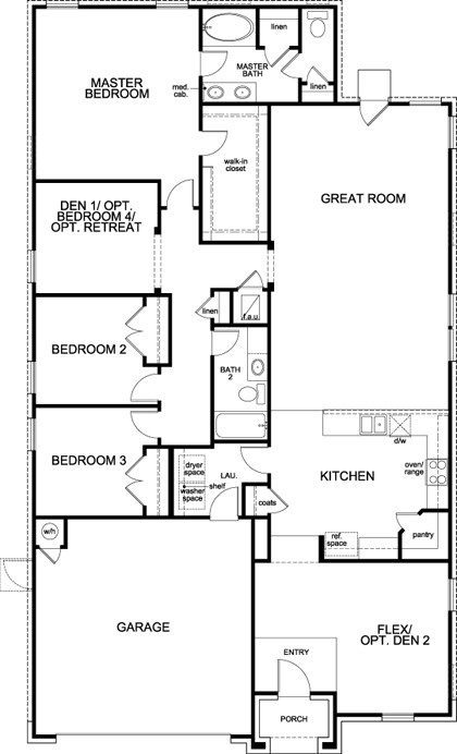 New Homes in Leander, TX - Plan A-2089, First Floor