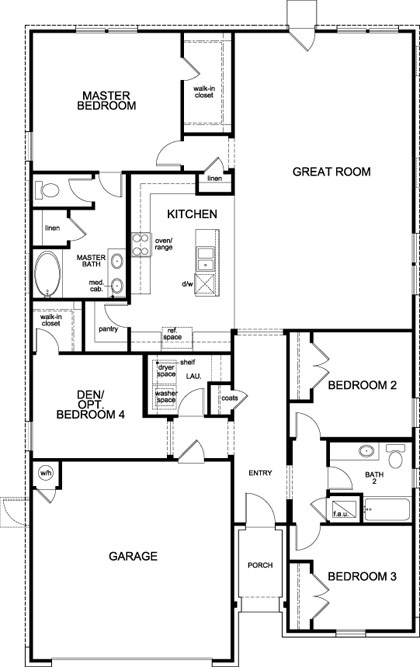 New Homes in Lockhart, TX - Plan A-1965, First Floor