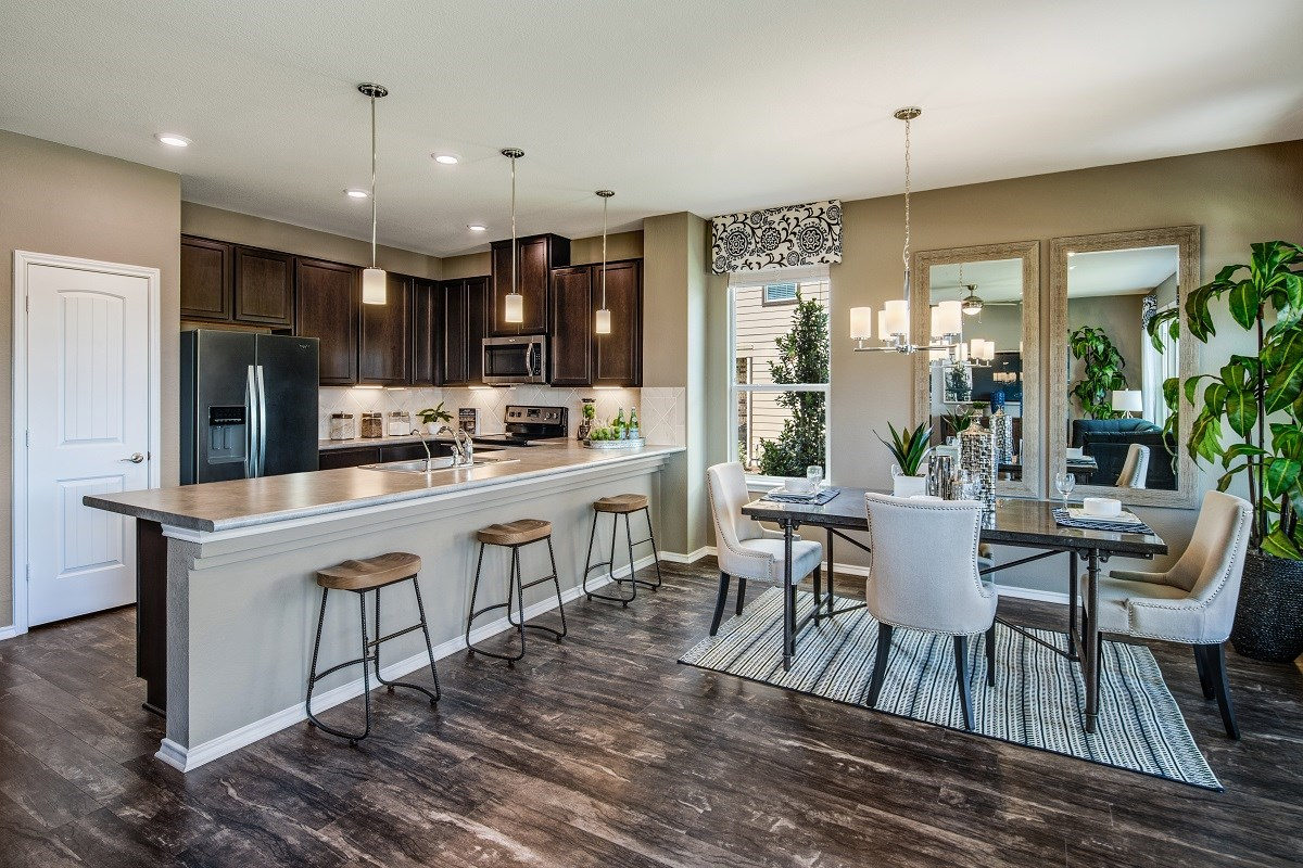 New Homes in Austin, TX - Northridge Park Plan A-1675 Kitchen and Dining Area