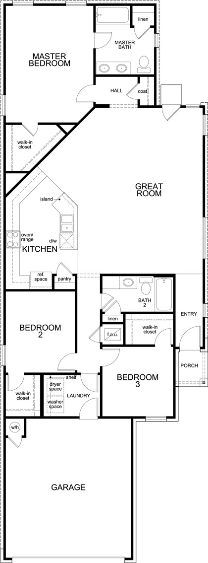 New Homes in Manor, TX - Plan 1585, First Floor
