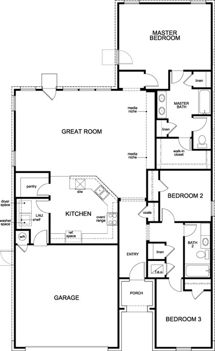 New Homes in Manor, TX - Plan A-1792, First Floor