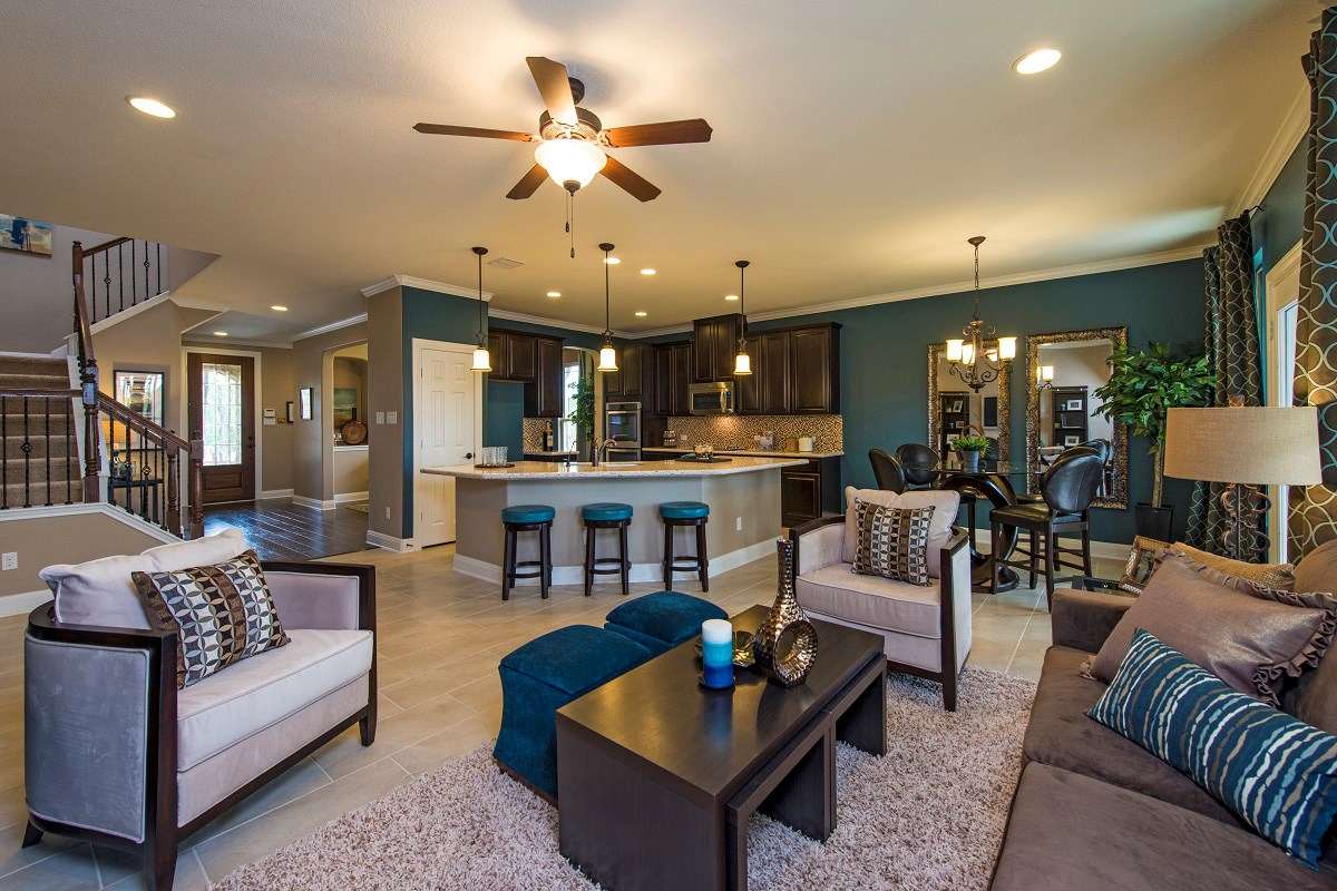 New Homes in Georgetown, TX - Creekside at Georgetown Village Plan A-2502 Living Area and Kitchen
