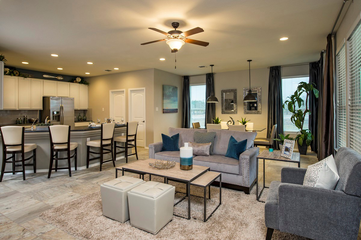 New Homes in Temple, TX - Village of Sage Meadows The A-1792 Living, Dining and Kitchen