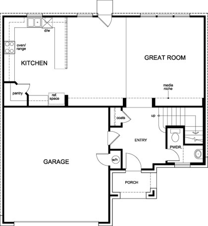 New Homes in Round Rock, TX - Plan A-2183, First Floor