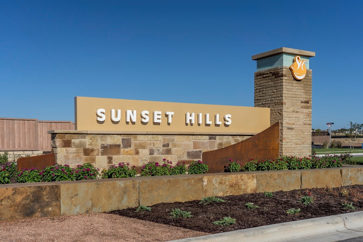 New Homes in Kyle, TX - Sunset Hills Community Entrance