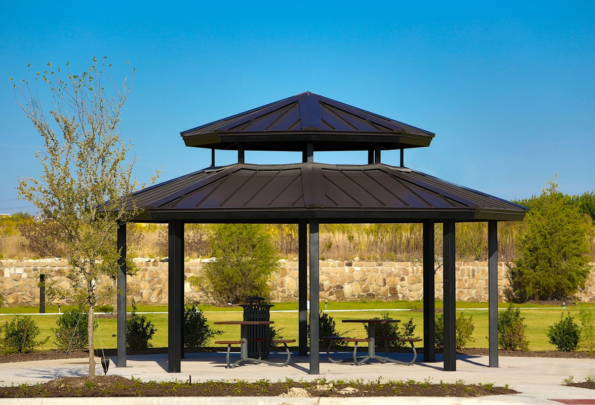 New Homes in Frisco, TX - Retreat at Stonebriar Community Open Air Pavillion with Seating