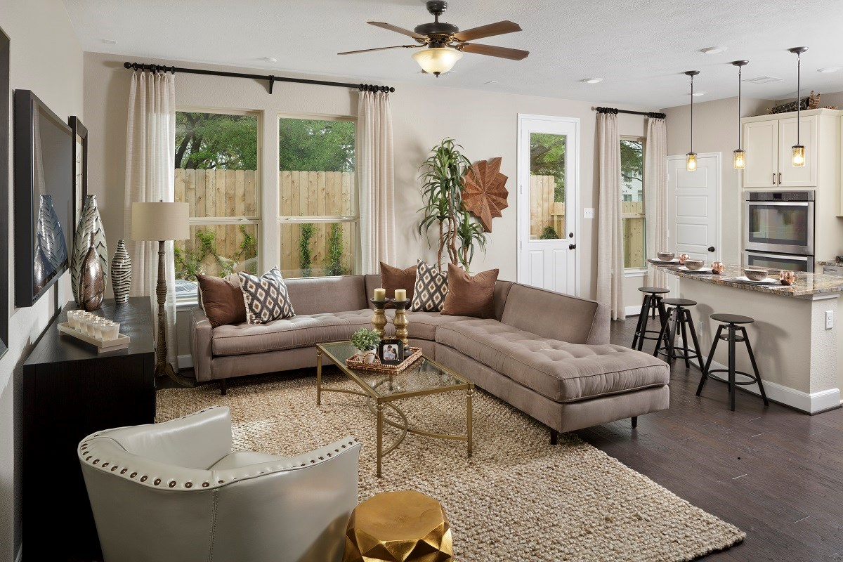 New Homes in Houston, TX - Cedar Brook Plan 2080 Living Room as modeled at Hollister Commons