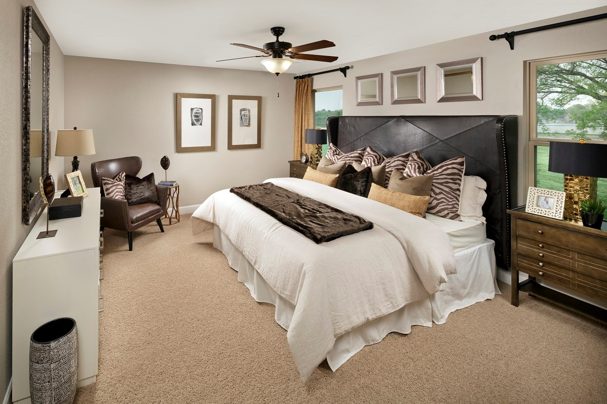 New Homes in Houston, TX - Cedar Brook Plan 2080 Master Bedroom as modeled at Hollister Commons