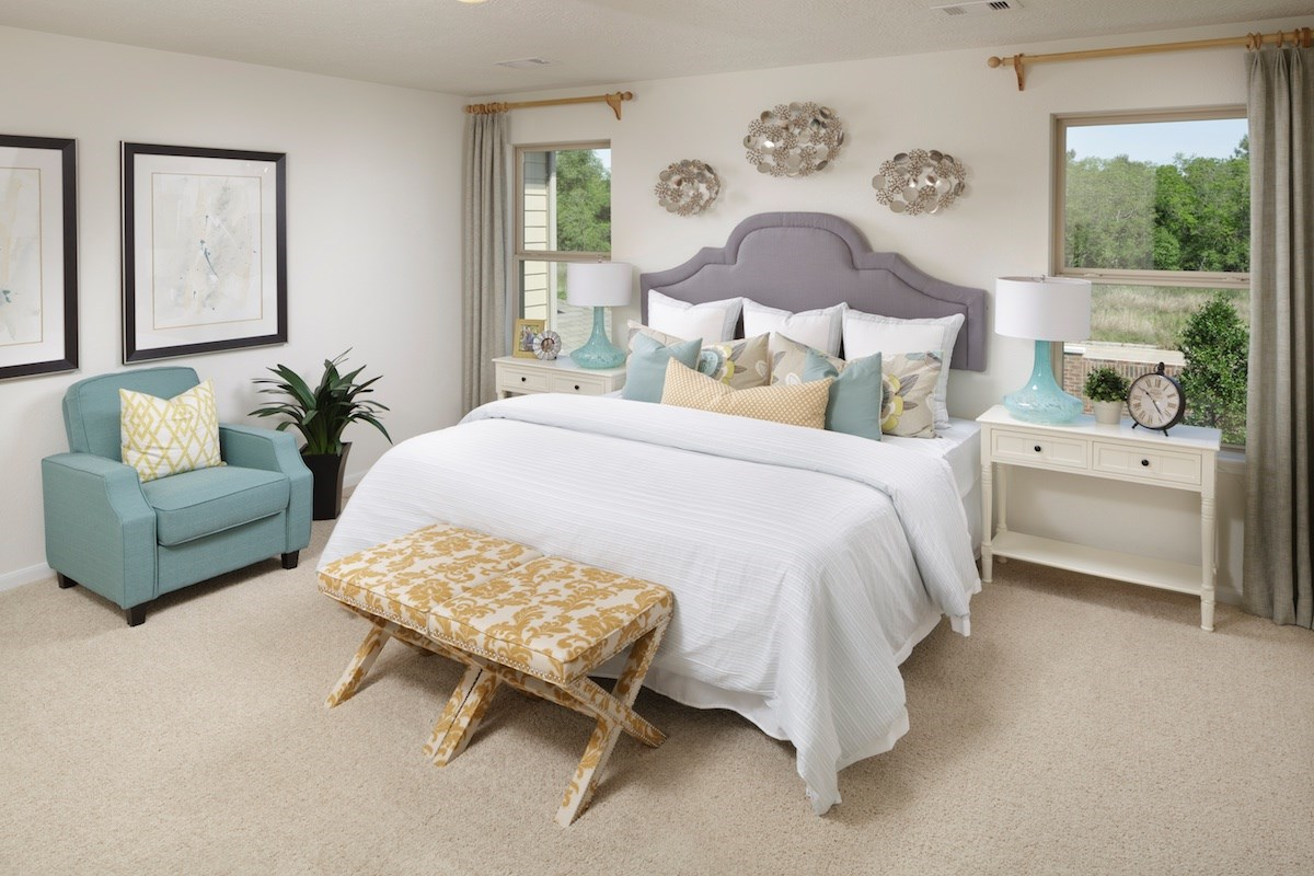 New Homes in Houston, TX - Westview Landing Plan 2124 Master Bedroom as modeled at Villas at Copperwood