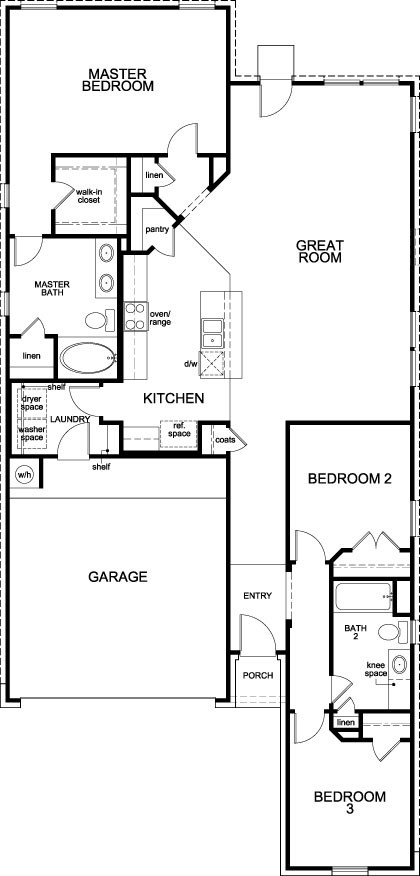 New Homes in Houston, TX - Plan 1631, First Floor