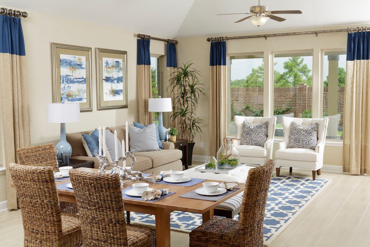 New Homes in Conroe, TX - Wedgewood Falls Preserve Plan 2130 Living Room as modeled at Shadow Grove