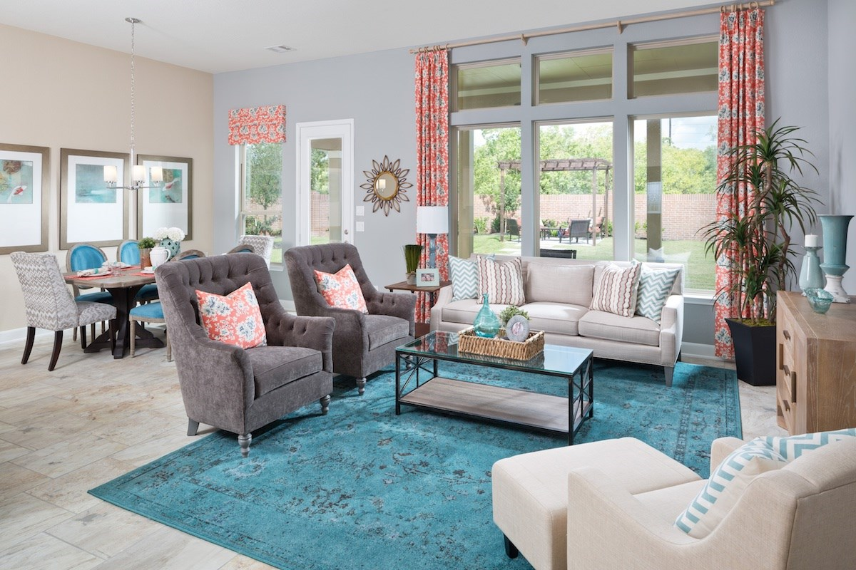 New Homes in Conroe, TX - Wedgewood Falls Preserve Plan 2715 Great Room as modeled at Shadow Grove