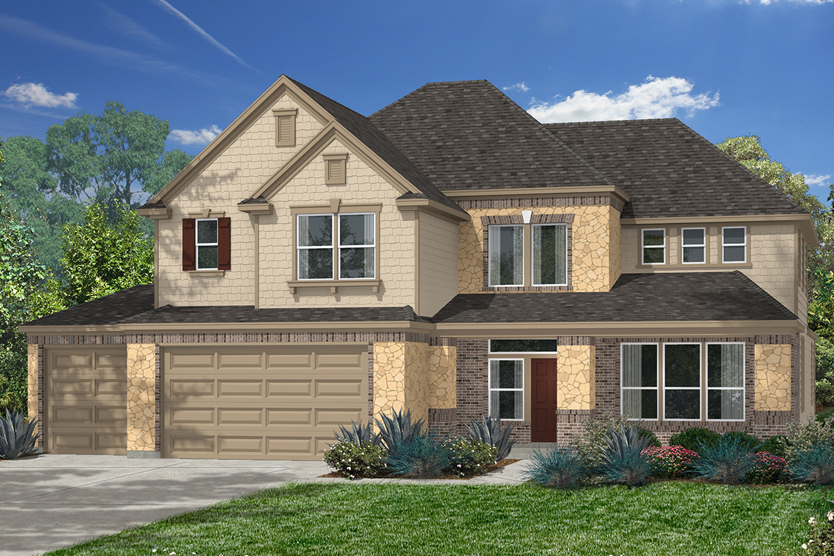 Plan 3444 new home floor plan in lakewood pines estates for Houston house elevation