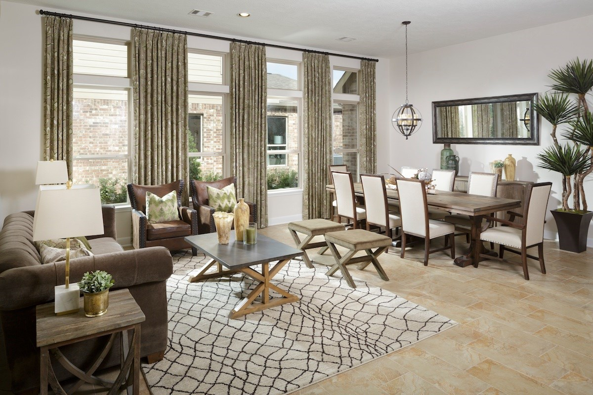 New Homes in Houston, TX - Lakewood Pines Estates - Lakefront Plan 3005 Dining/Living Room