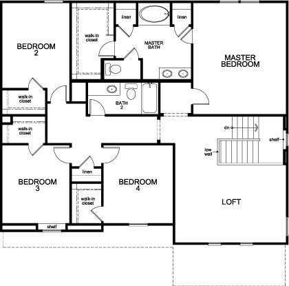 New Homes in Pearland, TX - Plan 2863 Modeled, Second Floor