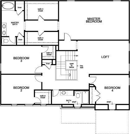 New Homes in Pearland, TX - Plan 3421, Second Floor