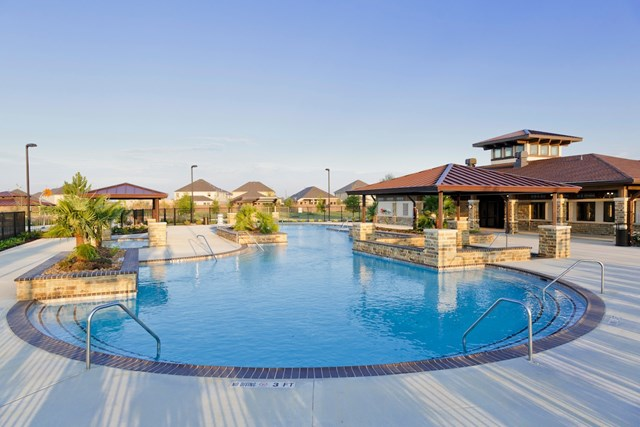Resort-style pool at a KB Home community in Katy, TX