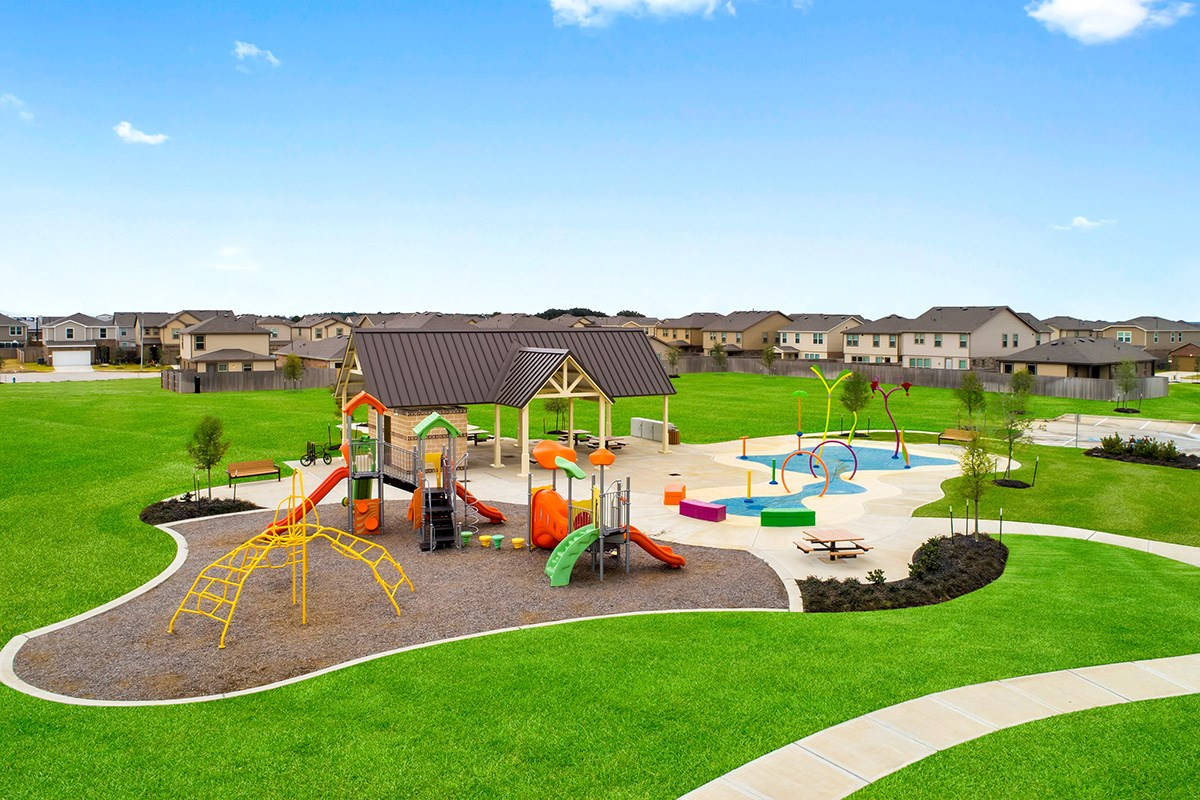 New Homes in Katy, TX - Katy Manor Trails Community Park with Playground, Splash Pad and Pavilion