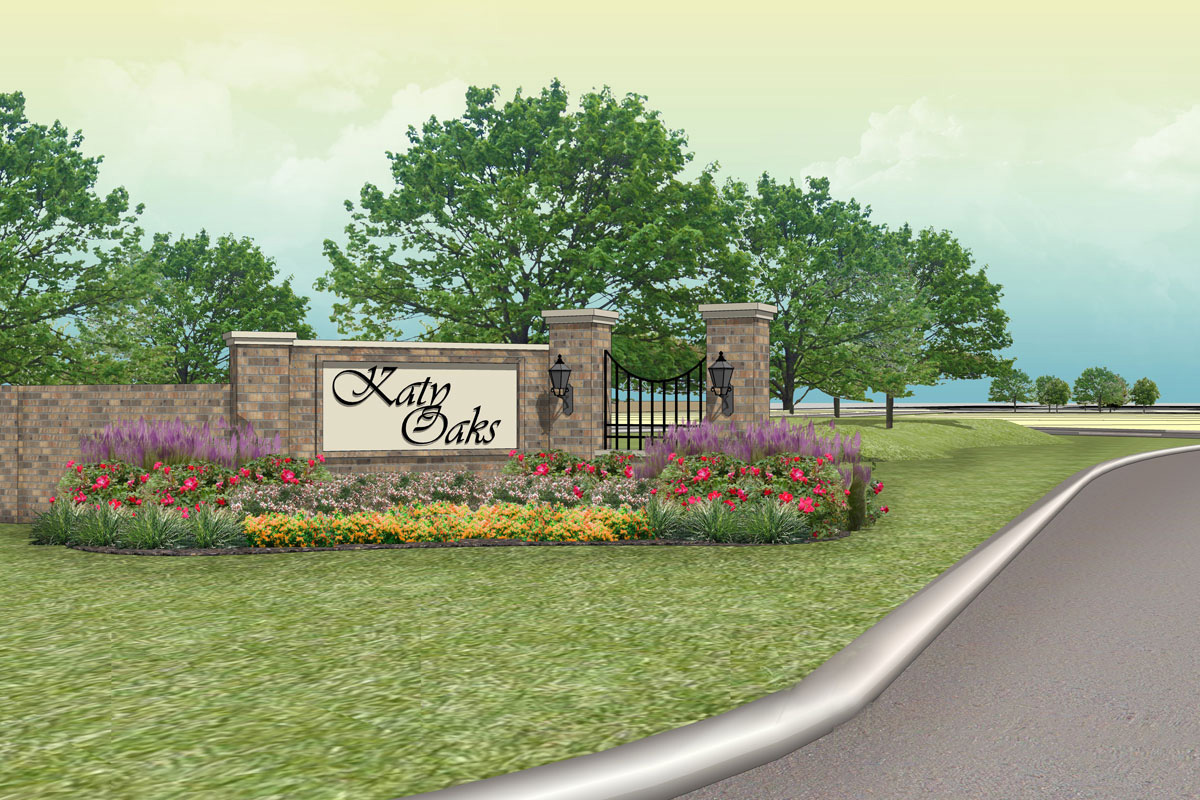 New Homes in Katy, TX - Katy Oaks Estates Entry Monument