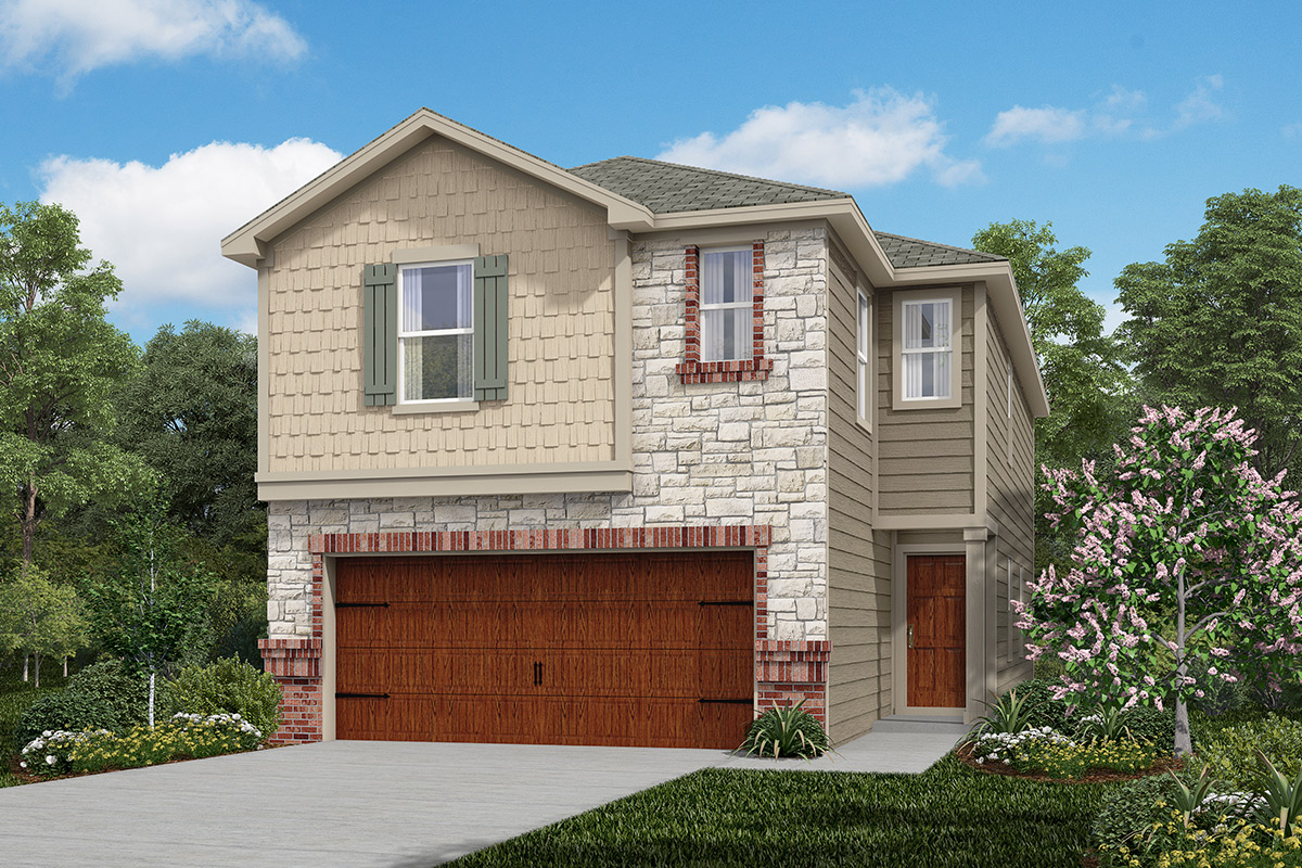 Plan 1855 new home floor plan in cedar brook by kb home for Home elevation houston