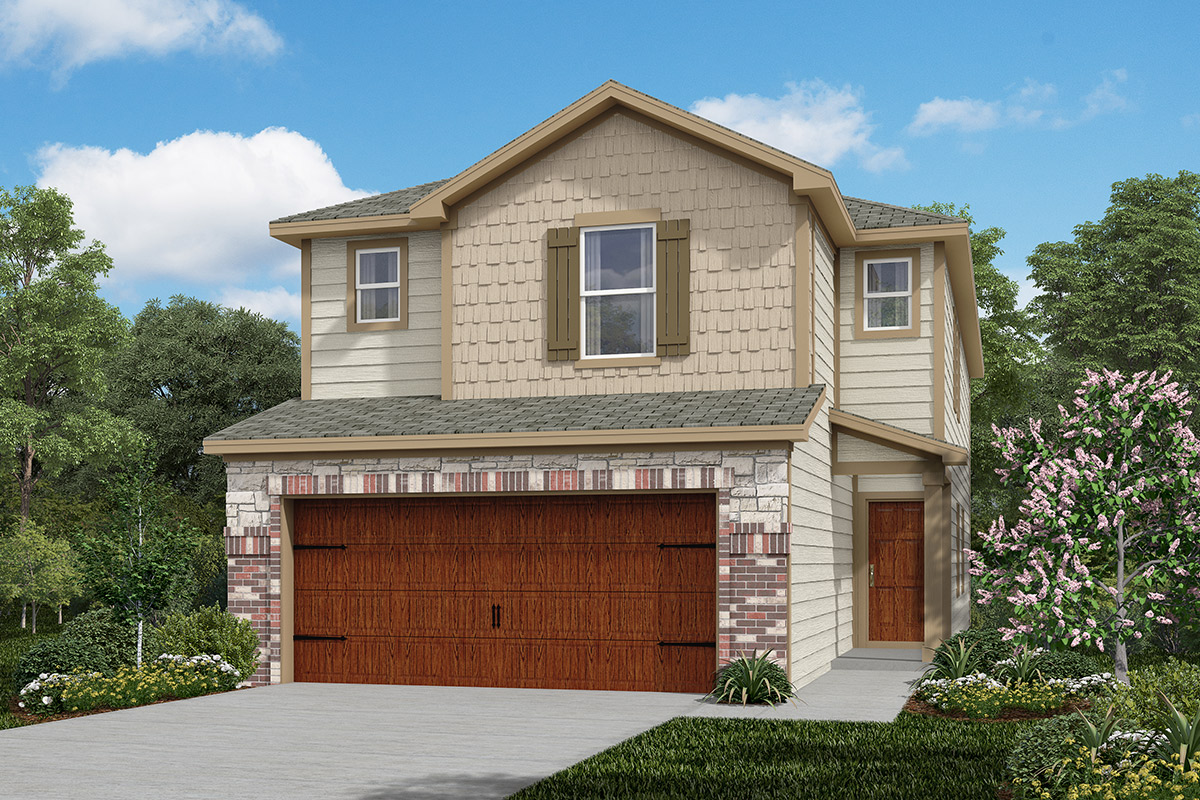 Plan 2080 new home floor plan in cedar brook by kb home for Home elevation houston