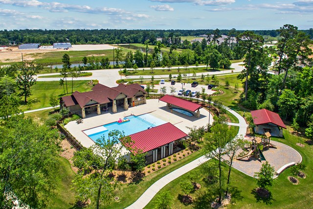 Amenity center and pool at a KB Home community in Magnolia, TX