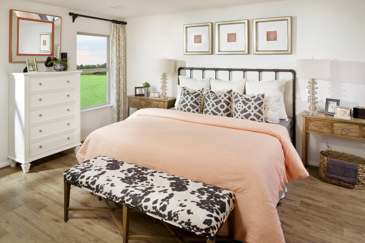 New Homes in Houston, TX - Hillsdale Creek Plan 1585 Master Bedroom as modeled at Katy Manor Trails