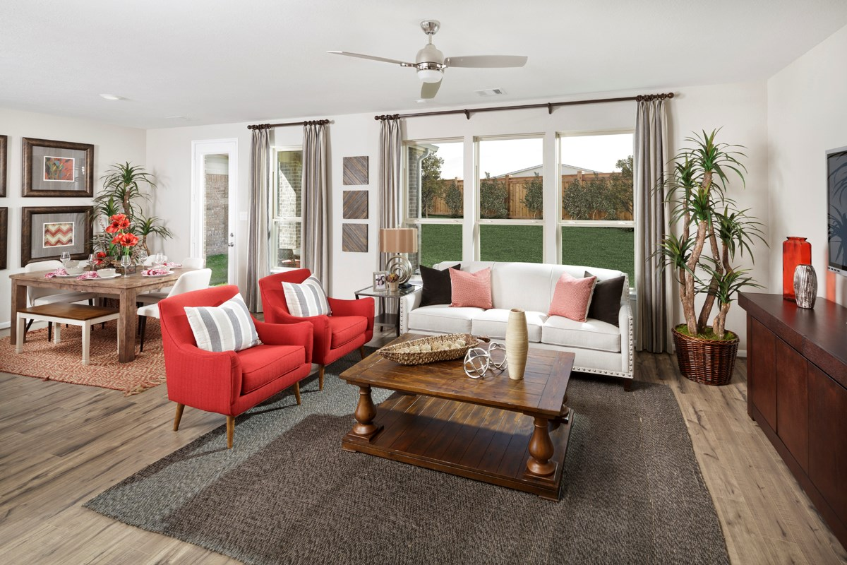 New Homes in Houston, TX - Lakewood Pines Trails  Plan 1864 Great Room as modeled at Katy Manor Trails