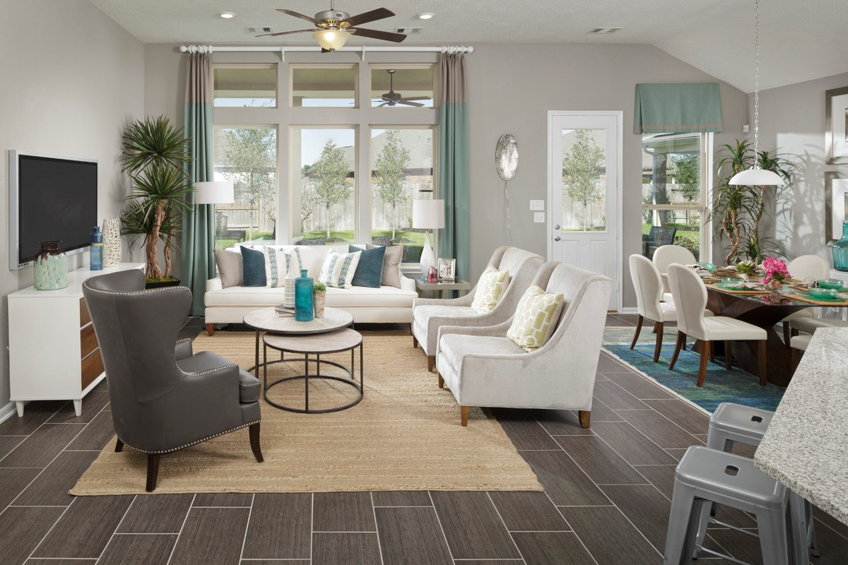 New Homes in Houston, TX - Lakewood Pines Preserve Plan 2715 Great Room