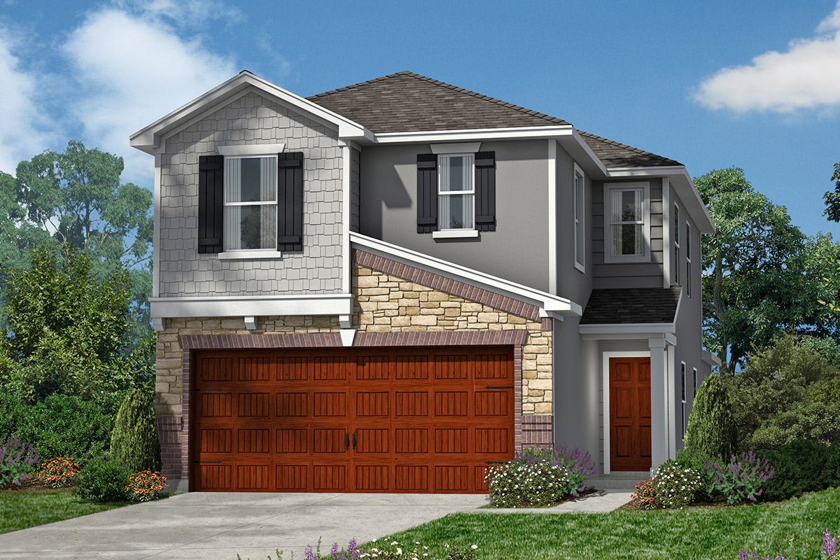 Plan 1663 new home floor plan in villas at spring for Home elevation houston