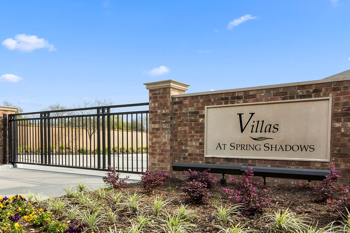 New Homes in Houston, TX - Villas at Spring Shadows Gated Community Entrance