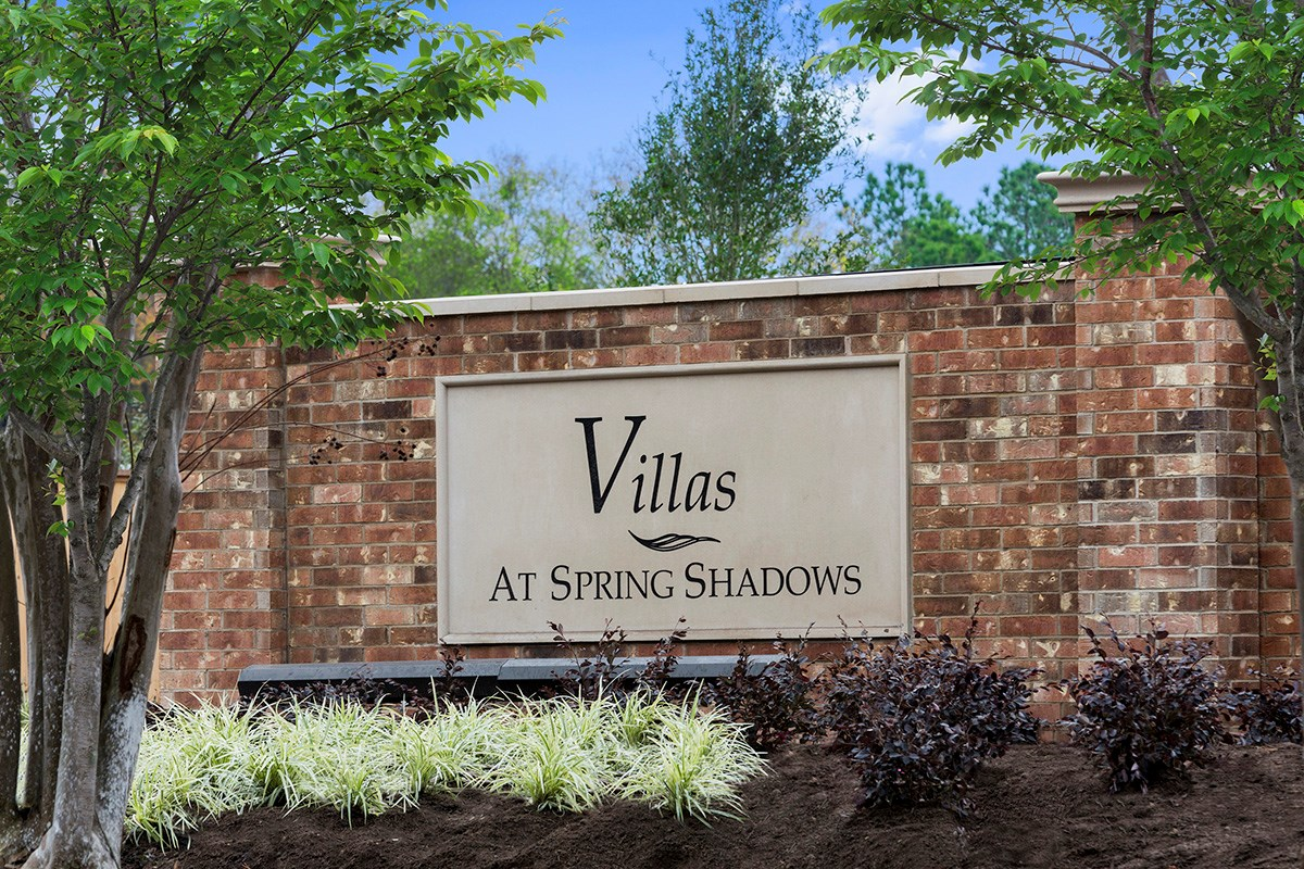 New Homes in Houston, TX - Villas at Spring Shadows Community Entrance