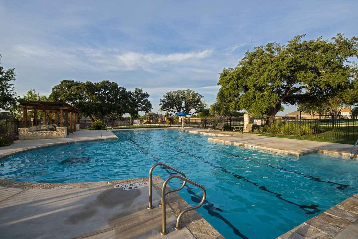 New Homes in San Antonio, TX - The Oaks at Cobblestone Community pool