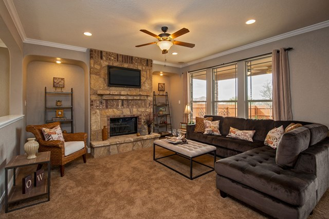 KB model home family room in Converse, TX