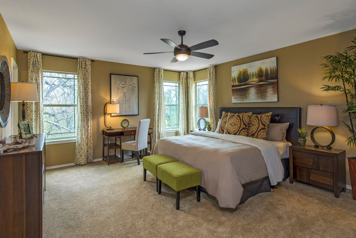 New Homes in San Antonio, TX - CrossCreek - Sterling & Heritage Collections The 2411 Master Bedroom