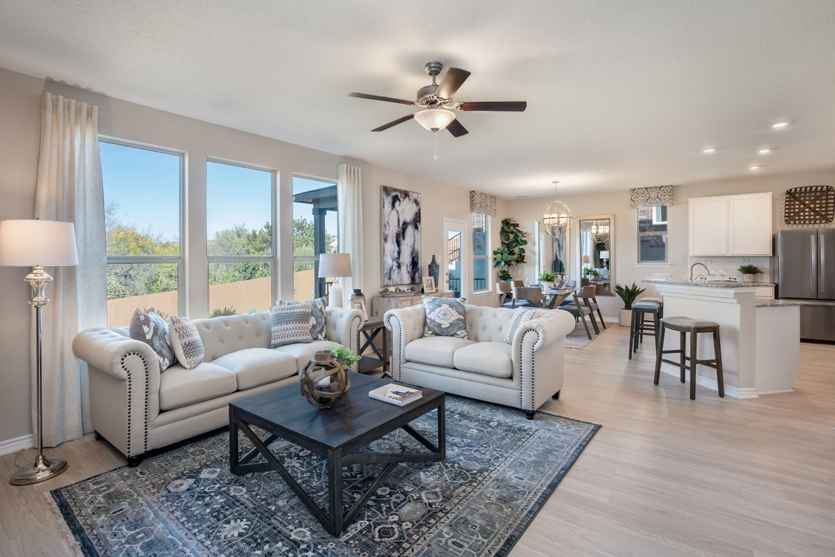 New Homes in Seguin, TX - Woodside Farms The 2403 Great Room as modeled at Dove Heights
