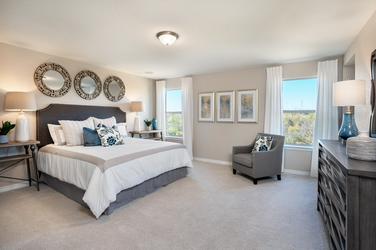 New Homes in Seguin, TX - Woodside Farms The 2403 Master Bedroom as modeled at Dove Heights