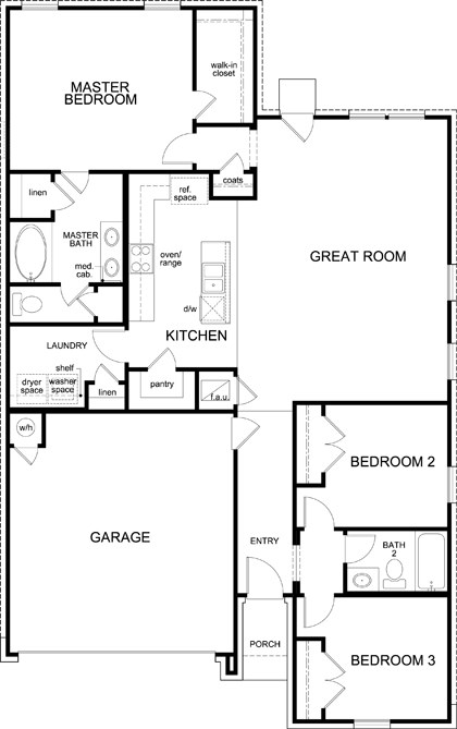 New Homes in San Antonio, TX - Plan 1491, First Floor